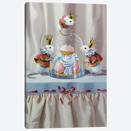 Three Mice And A Pastry Canvas Print #VQU76} by Valéry Vecu Quitard Canvas Art
