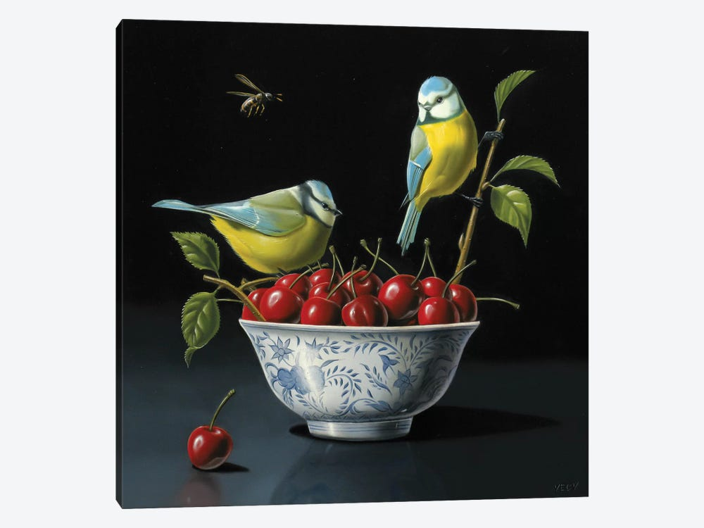 Both Tits And Cherries by Valéry Vecu Quitard 1-piece Canvas Art Print