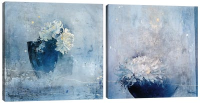 Blue Magnificence Diptych Canvas Art Print