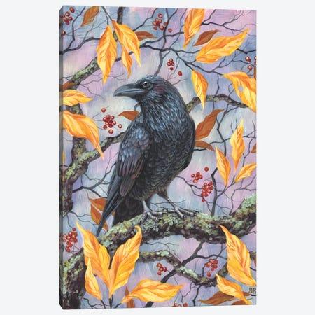 Autumn Raven 3-Piece Canvas #VRK11} by Vasilisa Romanenko Canvas Art Print