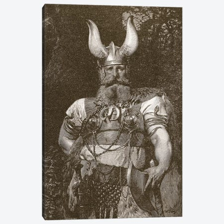 A Viking Chief, illustration from 'The Church of England: A History for the People', pub. c.1910 3-Piece Canvas #VRM7} by Carl Haag Canvas Wall Art