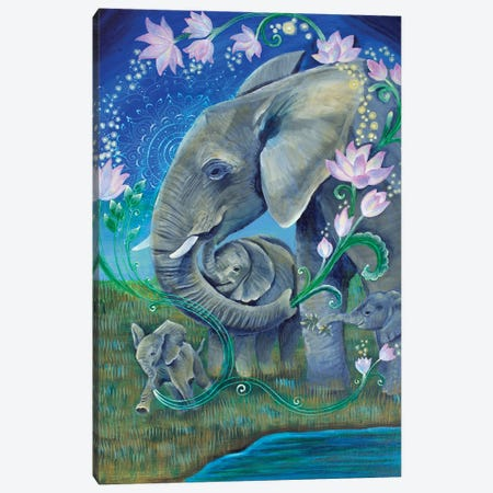 Elephants For Peace Canvas Print #VRW17} by Verena Wild Canvas Wall Art