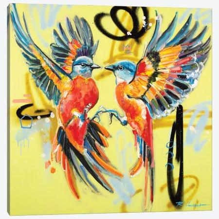 Birdy Kiss Canvas Print #VRX3} by Vincent Richeux Art Print