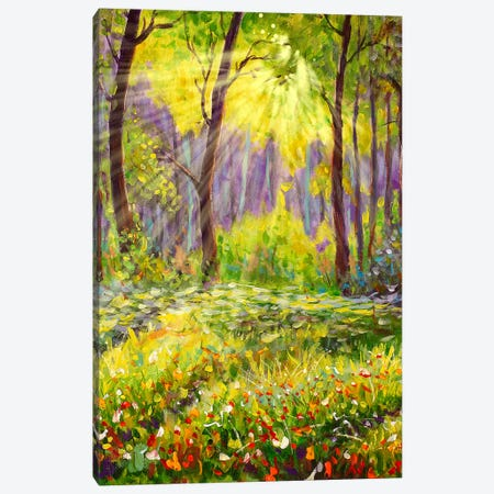 Sun In Forest Landscape Canvas Print #VRY102} by Valery Rybakow Art Print