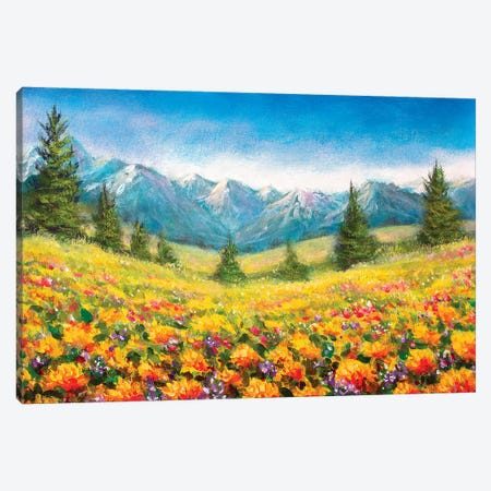 Yellow Flowers In The Mountains Canvas Print #VRY119} by Valery Rybakow Canvas Wall Art
