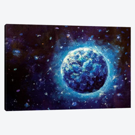 Blue Planet Earth In Space Canvas Print #VRY121} by Valery Rybakow Canvas Art Print
