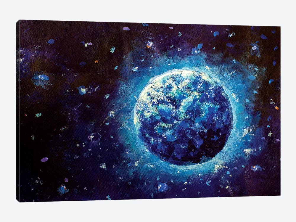 Blue Planet Earth In Space by Valery Rybakow 1-piece Canvas Wall Art