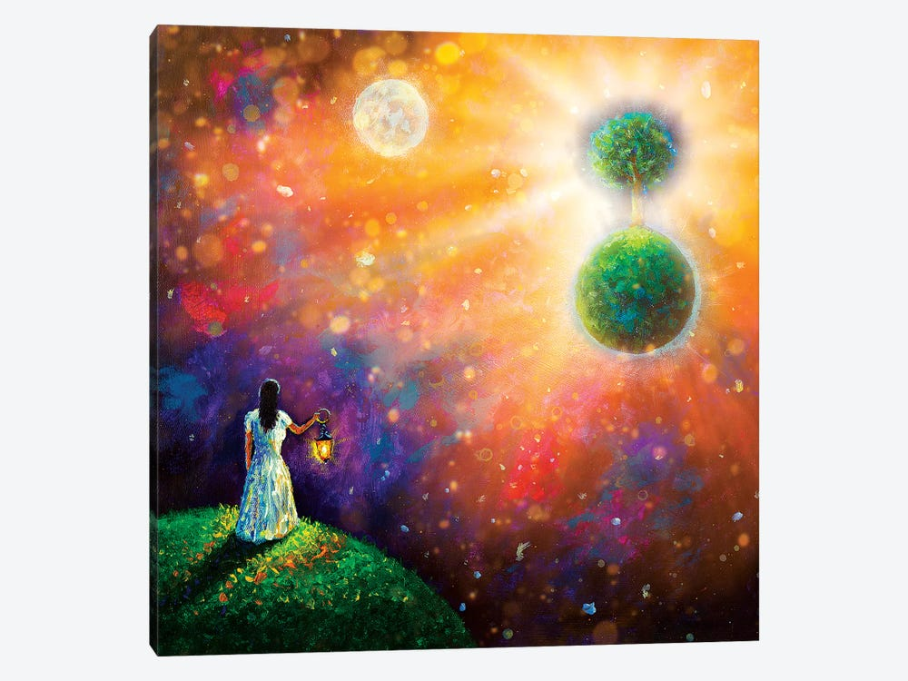 Girl With Lantern In Space by Valery Rybakow 1-piece Canvas Print