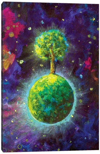 Green Planet With Tree In Cosmos Canvas Art Print