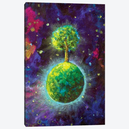 Green Planet With Tree In Cosmos Canvas Print #VRY125} by Valery Rybakow Canvas Artwork