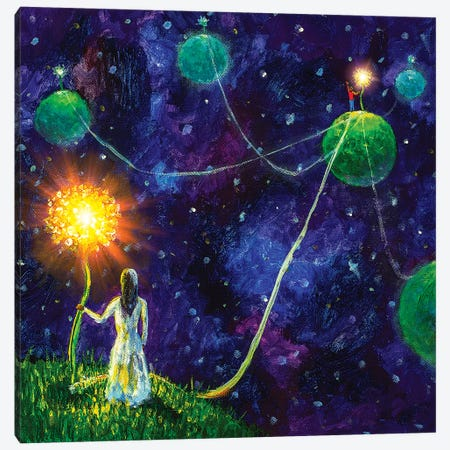 Threads Of Love. Princess And Little Prince. Canvas Print #VRY130} by Valery Rybakow Canvas Artwork
