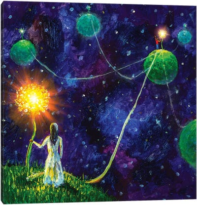 Threads Of Love. Princess And Little Prince. Canvas Art Print