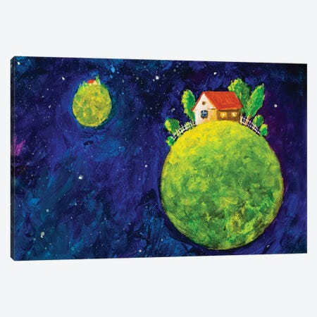 Cozy House In Space Canvas Print #VRY138} by Valery Rybakow Canvas Artwork