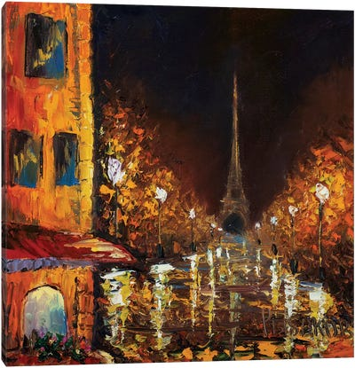 Paris By Night Canvas Art Print