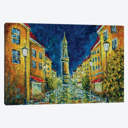 Europe Night Street Canvas Print #VRY155} by Valery Rybakow Art Print