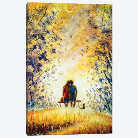 A Loving Couple And Cat  Canvas Print #VRY157} by Valery Rybakow Canvas Art Print