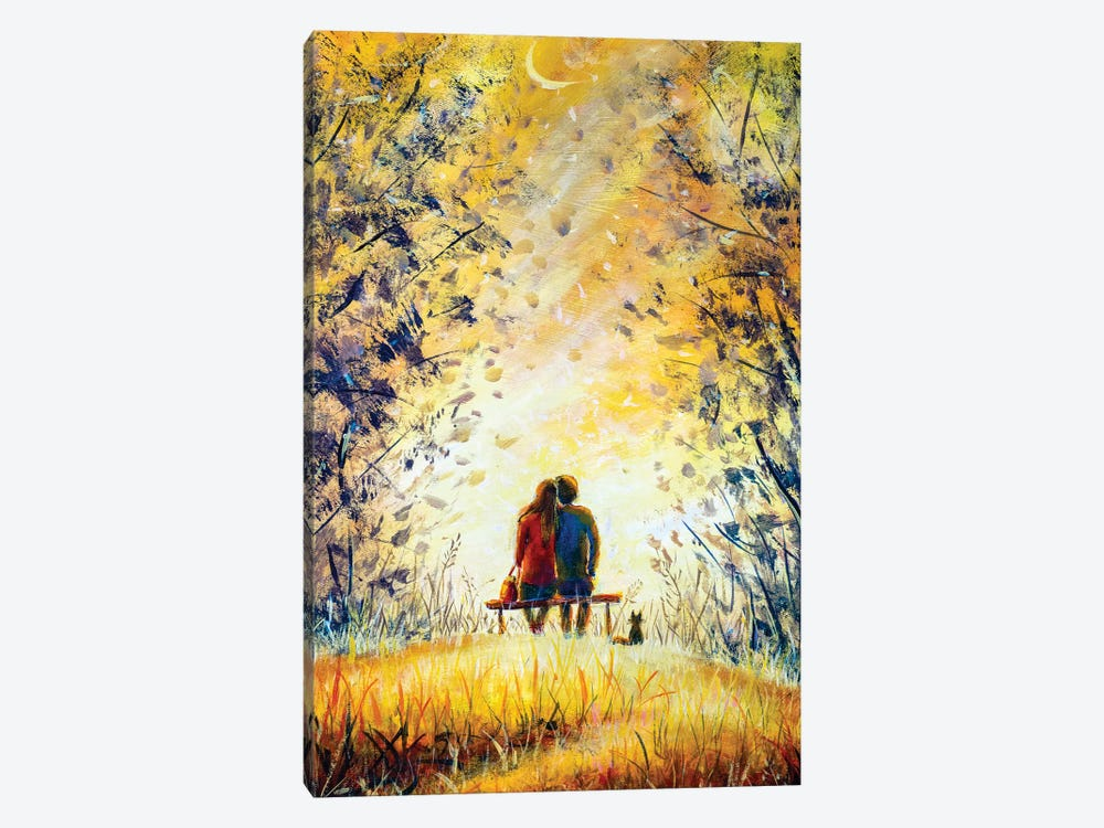 A Loving Couple And Cat  by Valery Rybakow 1-piece Canvas Print