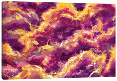 Abstract Clouds, Galaxies, Space, Expressionism Fire Flame Canvas Art Print