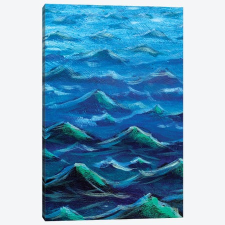 The Sea Big Waves. Blue Ocean 3-Piece Canvas #VRY165} by Valery Rybakow Canvas Artwork
