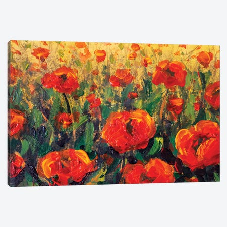 Glade Of Red Poppies Flowers In Green Grass Canvas Print #VRY168} by Valery Rybakow Art Print