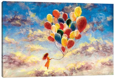 Woman With Colorful Balloons Among The Clouds Canvas Art Print