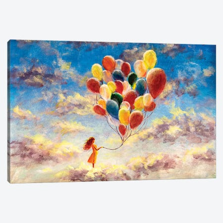 Woman With Colorful Balloons Among The Clouds Canvas Print #VRY177} by Valery Rybakow Canvas Print