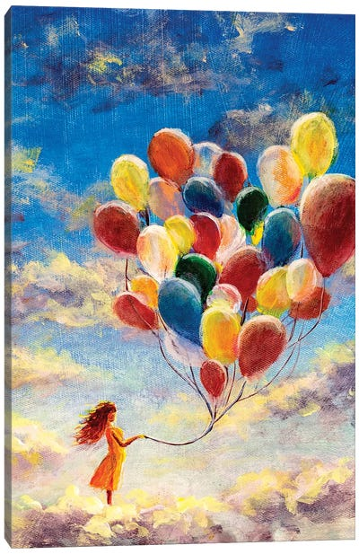 Woman Flying With Balloons Among The Clouds Canvas Art Print