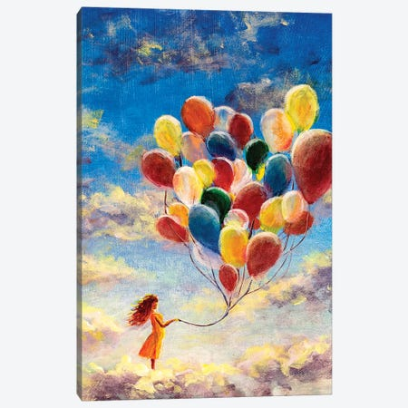 Woman Flying With Balloons Among The Clouds Canvas Print #VRY178} by Valery Rybakow Canvas Artwork