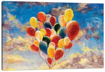 Balloons Against The Blue Sky And Clouds Canvas Art Print