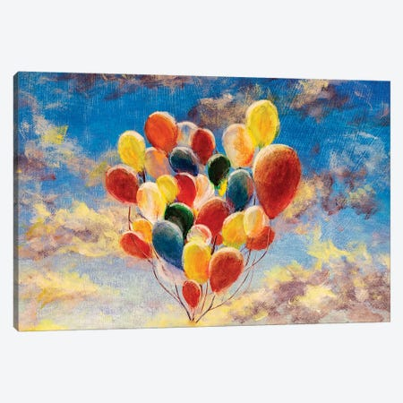 Balloons Against The Blue Sky And Clouds 3-Piece Canvas #VRY179} by Valery Rybakow Canvas Wall Art