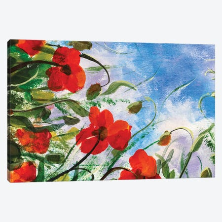 Beautiful Red Poppies Flowers Canvas Print #VRY181} by Valery Rybakow Canvas Art Print