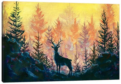 Deer And Forest Canvas Art Print