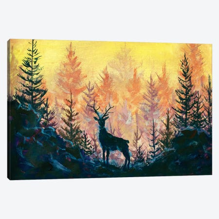 Deer And Forest Canvas Print #VRY184} by Valery Rybakow Canvas Wall Art