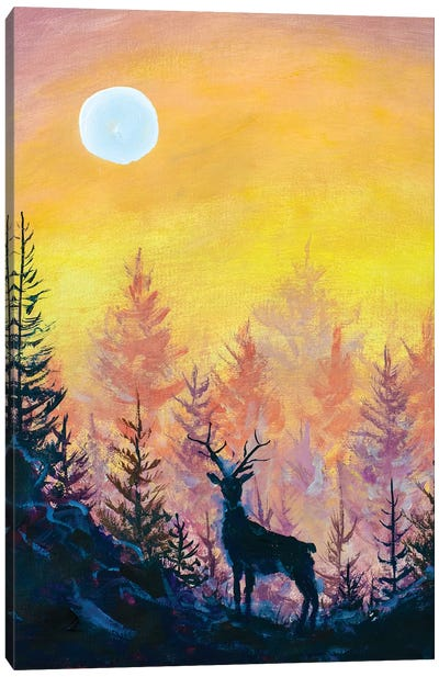Deer And Moon In Forest Canvas Art Print