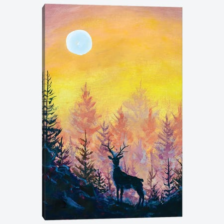 Deer And Moon In Forest Canvas Print #VRY185} by Valery Rybakow Canvas Art
