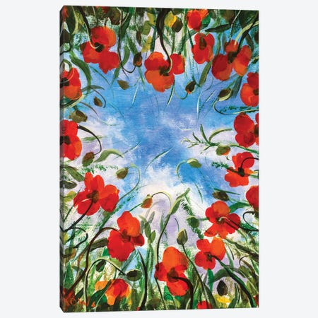 Heart Of Poppies Flowers Canvas Print #VRY188} by Valery Rybakow Canvas Print