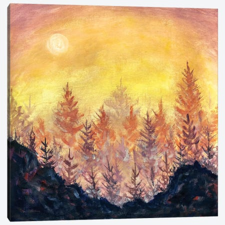 Orange-Purple Dawn Sunset In Forest Canvas Print #VRY190} by Valery Rybakow Canvas Art