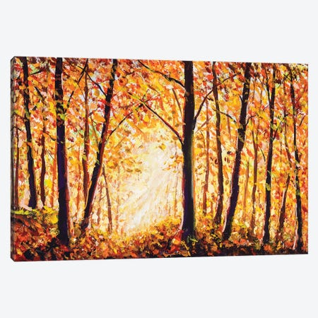 Autumn Forest Painting Canvas Print #VRY192} by Valery Rybakow Canvas Wall Art