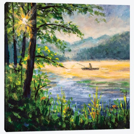 Fishing Painting. Fisherman In Boat In Beautiful Morning Lake. Canvas Print #VRY193} by Valery Rybakow Canvas Artwork