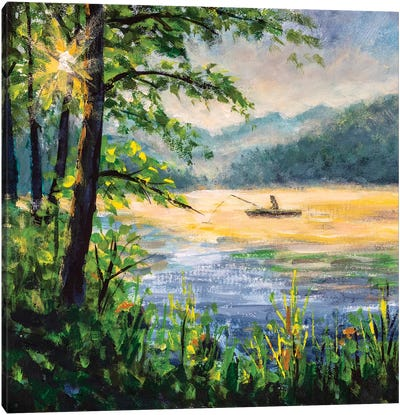 Fishing Painting. Fisherman In Boat In Beautiful Morning Lake. Canvas Art Print