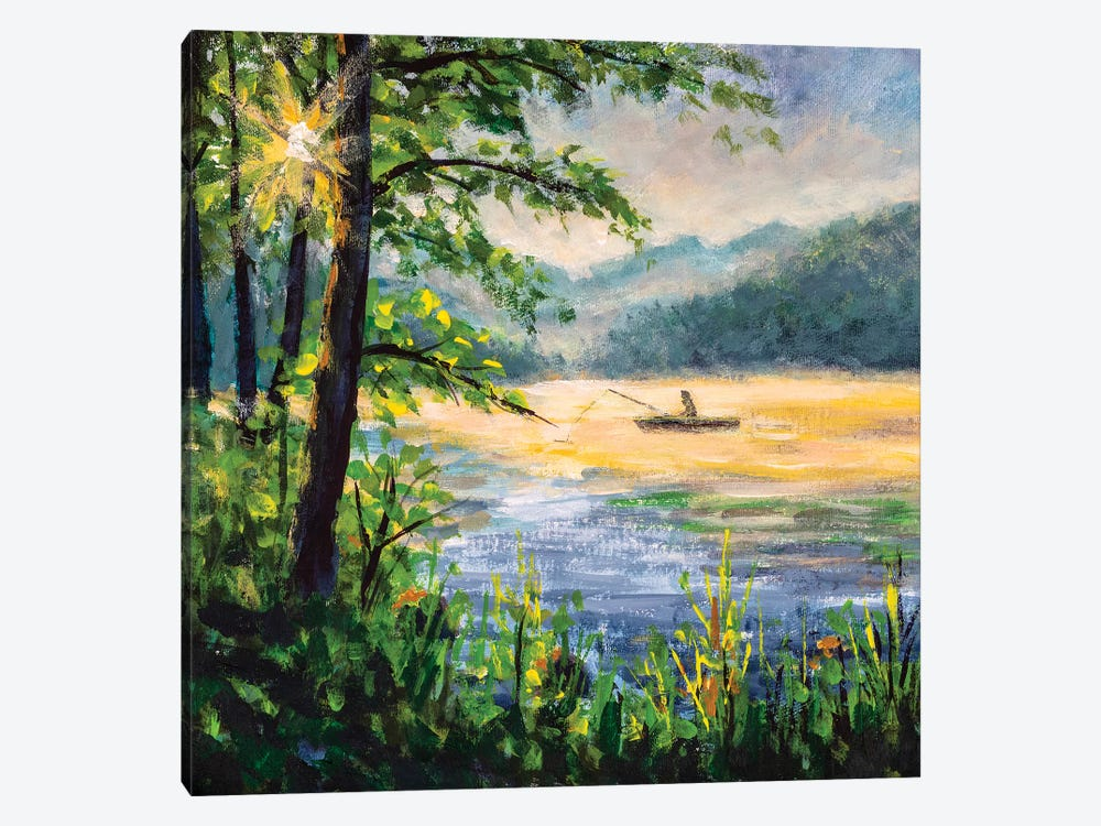 Fishing Painting. Fisherman In Boat In Beautiful Morning Lake. by Valery Rybakow 1-piece Canvas Print