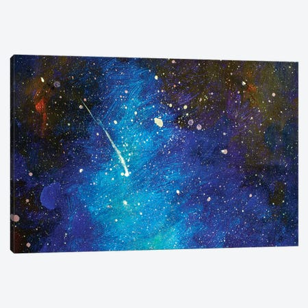 Falling Star. Beautiful Night Starry Sky Canvas Print #VRY195} by Valery Rybakow Art Print