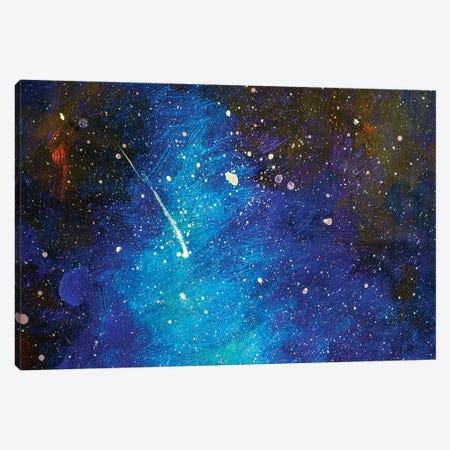 Falling Star. Beautiful Night Starry Sky Canvas Print #VRY195} by Valery Rybakow Art Print