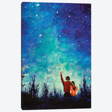 Young Love Couple In Night Landscape Canvas Print #VRY197} by Valery Rybakow Canvas Print