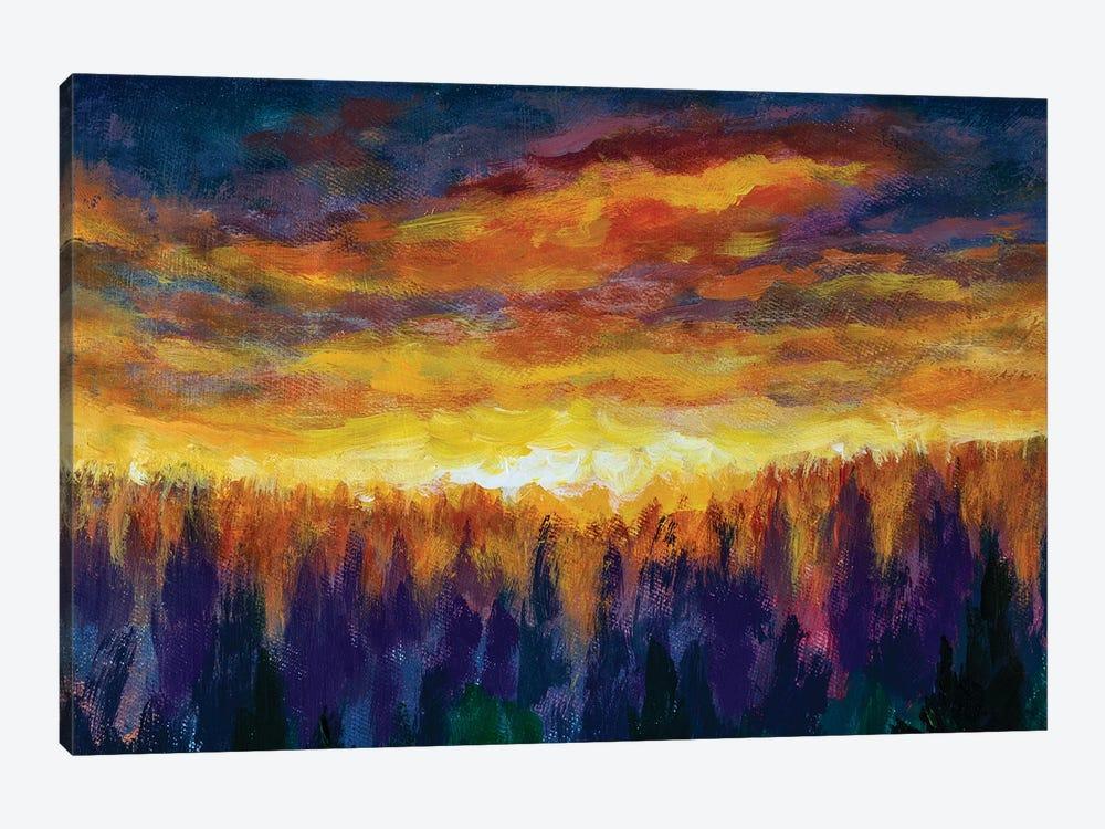 Magic Orange Clouds Bright Dawn Over Misty Foggy Purple Forest by Valery Rybakow 1-piece Canvas Art