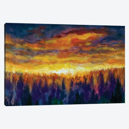 Magic Orange Clouds Bright Dawn Over Misty Foggy Purple Forest Canvas Print #VRY198} by Valery Rybakow Canvas Art