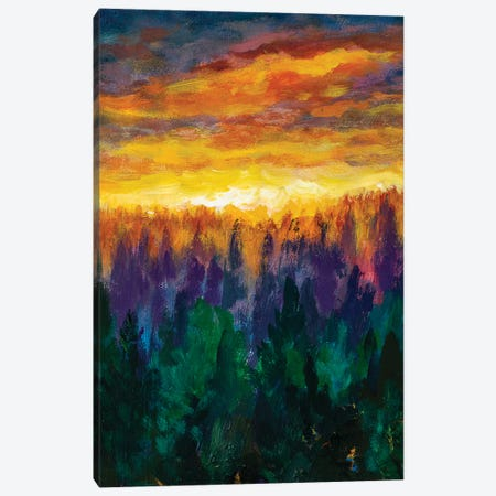Bright Dawn Over Misty Foggy Purple Forest Canvas Print #VRY199} by Valery Rybakow Canvas Artwork
