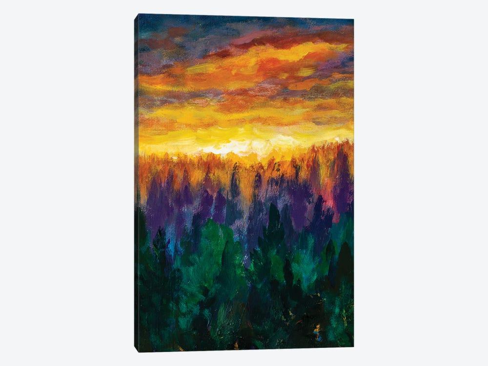 Bright Dawn Over Misty Foggy Purple Forest by Valery Rybakow 1-piece Canvas Print