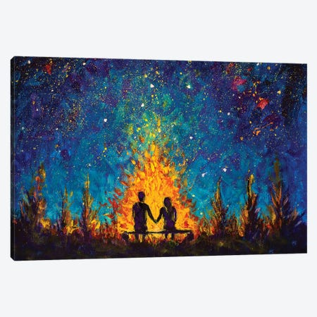 A Couple In Love Sitting On A Bench By The Night Fire And Looking At The Night Sky Canvas Print #VRY200} by Valery Rybakow Canvas Art