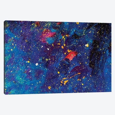 Beautiful Night Starry Sky, Blue Cosmos, Galaxy, Stars Canvas Print #VRY201} by Valery Rybakow Canvas Art